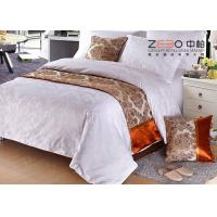 Buy cheap 50% Cotton White Hotel Bedding Sets With White Feather Design Linen from wholesalers