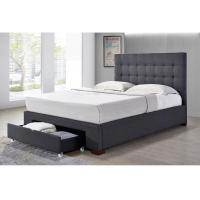 Buy cheap Double Linen Fabric Bed With Drawer / Gray Linen Upholstered Bed from wholesalers