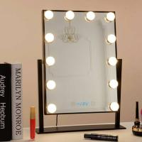 Buy cheap Desk Square Vanity Makeup Mirror With Light Bulbs, Portable Light Up Mirror from wholesalers