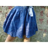 Buy cheap Blue Embroidery Cotton Little Girls Denim Skirt , Eyelet Girls Summer Skirts With Bow from wholesalers