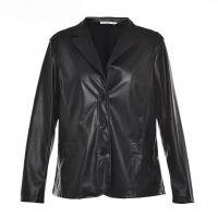 China Slim Fitted Style Ladies PU Jackets; Women Faux Leather Jackets Lapel Collar on sale