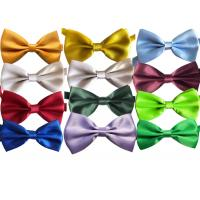 Buy cheap polyester silk Men solid plain bow tie OEM logo Evening tunic clothing accessories multicolor from wholesalers