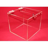 Buy cheap 3mm Clear Acrylic Storage Boxes , Custom Square Locking Donation Box product