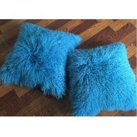 "18x 18"" Tibetan Lamb Fur Pillow Single Sided Fur Cushion Cover Sky Blue Color"