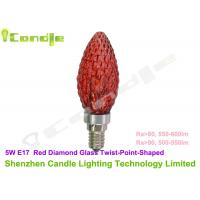China 5 W E17 LED Candle Lamp Point Shaped Ra 85 , Red Diamond Glass Cover on sale