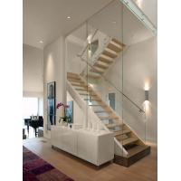 Buy cheap Modern Design Steel Beam Stringer Open Staircase Indoor with Solid Wood Stairs Tread from wholesalers