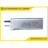 China Soft Packed Primary Lithium Battery , 3.0V 1450mAh Ultra Thin Cell Cp502060 on sale