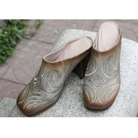 Buy cheap Durable Cowhide Leather Clog Heels , Thick High Heel Women'S Clog Shoes from wholesalers