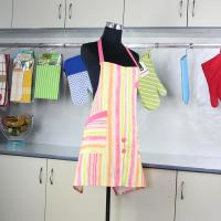 Buy cheap Household Pink Stripes Printed Bib Kitchen Cotton Apron With Pocket from wholesalers