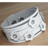 Buy cheap Flower leather women's cuff bracelets, wide leather bracelet from wholesalers