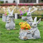 Buy cheap Polyresin Garden Animals Flower Pots Decorative Rabbit garden planter from wholesalers