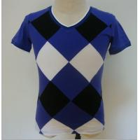 Buy cheap Summer Checked Panels Mens Polo T Shirts Short Sleeve V Neck T Shirts 95% Cotton 5% Spandex from wholesalers