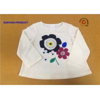 Buy cheap Long Sleeve Childrens Plain White T Shirts Crew Neck Screen Print For Girls from wholesalers