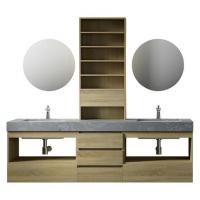Buy cheap Large Storage Space Grey Bathroom Vanity , 2 Touch Round Mirrors Wall Mount Vanity product