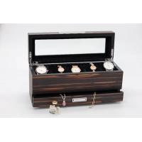 Buy cheap wooden jewelry box with drawer, jewlery organizer, top tray for watches, with glass window at top from wholesalers