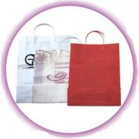 Buy cheap Custom White / Red Small Gift Hard Plastic Handle Bag with Colorful Printing from wholesalers