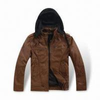 Buy cheap PU leather Jacket with Hood, OEM and ODM Orders are Welcome from wholesalers