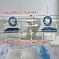 Buy cheap Leisure fabric with white painting solid wood chair in Neoclassical design and from wholesalers