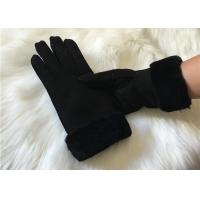 Buy cheap Ladies Black Shearling Lambskin winter Gloves double face sheepskin leather glove from wholesalers