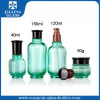 Buy cheap Green Cosmetic Glass Bottles ,   Custom Cosmetic Packaging 150ml Round Lotion Packaging from wholesalers