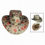 Buy cheap Western Raffia Straw Cowboy/Cowgirl Hat with Sewn Elastic Sweatband Inside Hat from wholesalers