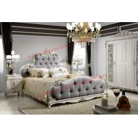 Buy cheap Luxury Upholstery Fabric Headboard Padding with Solid Wood Bed in Ivory White Painting from wholesalers