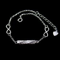 Customized Silver Cubic Zirconia Bracelet Rhodium plating Bar Shape