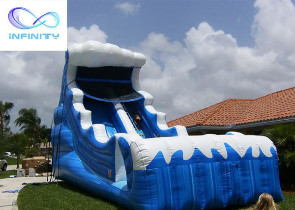 Buy cheap Commercial 6.5 Meters High Blue Wavy Inflatable Water Slide For Outdoor Summer Fun from wholesalers