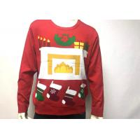 Buy cheap Mens Cotton Print Fireplace Ugly Christmas Jumper Crew Neck Long Sleeve from wholesalers