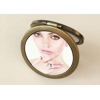 Buy cheap Personalized PU Leather Makeup Cosmetic Pocket Mirror With Custom 3D Printing from wholesalers