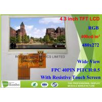 Buy cheap High Brightness 4.3 inch Industrial LCD Panel Bonding 480x272 Color LCD Display from wholesalers