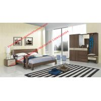 Buy cheap Walnut wood home bedroom furniture sets by curved headboard bed and full mirror from wholesalers