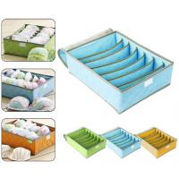 Buy cheap 7Cell Bamboo Charcoal Storage Boxes Bra Underwear Closet Organizer Drawer Divider Green from wholesalers