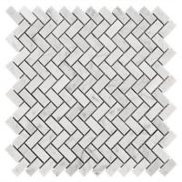 Buy cheap Carrara White Marble Herringbone Mosaic Floor Tile Sheets , Mosaic Marble Tile Backsplash from wholesalers