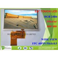 Buy cheap Thin Bright Lcd Touch Screen Module 800 x 480 5 Inch 40 Pin RGB Interface For DVD Player from wholesalers
