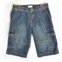 China Men's short jeans, made of cotton on sale