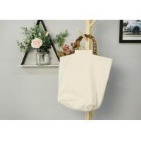 Buy cheap Women Recycled Cotton Tote Bags With Bamboo Handle Wear Resistant Durable from wholesalers