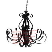 Buy cheap YL-L1024 Retro Black Pendant Lamp Chandelier Lighting 5 Candle Wrought Iron Light Hanging Ceiling Fixtures from wholesalers