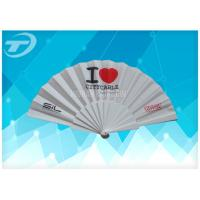 Buy cheap Customized Plastic Folding Fan With Fabric ,  Size 23cm Hand Held Folding Fans from wholesalers