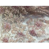 Buy cheap 47 Inch Pink Embroidered Heavy Beaded Lace Fabric By The Yard With Scalloped Edge from wholesalers