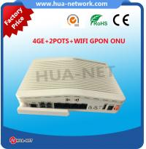 Buy cheap Plastic white box 4GE+2POTS+WIFI GPON ONU/ONT HGU TYPE/FTTH ONU/Fiber optic ONU product