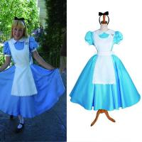 Buy cheap Princess Dress Wholesale Blue White Satin Custom Made Alice's Adventures in Wonderland Alice Maid Dress Cosplay from wholesalers