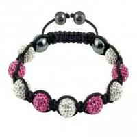 Buy cheap High quality 10mm Hematite Crystal Bangle Bracelets with white & dark pink crystal beads from wholesalers