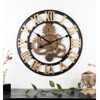 Buy cheap 60cm Rustic Country Tuscan Style 3D decoration gear wooden vintage hot Selling retro clock Wall Clock from wholesalers