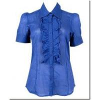 Buy cheap Latest blue and white stripe falbala office ladies summer formal blouses from wholesalers