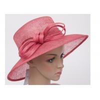 Buy cheap Summer Red Ladies Sinamay Hats / 11cm Natural Ladies Church Hats For Decoration from wholesalers