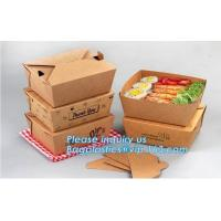 China Disposable Custom Printed Food Kraft Lunch Paper Box For Food,Cardboard Paper Salad Box With Logo Printing bagease packa on sale
