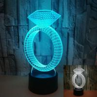 Buy cheap Jewelry gift custom new diamond ring creative 3d night light led desk lamp gift table lamp spot factory direct sales from wholesalers