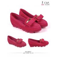 China Lady flat casual shoes in suede leather upper  with bowknot  wave rubber outsole  red  purple pink color on sale