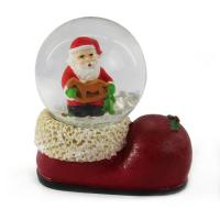 Buy cheap Transparent Sphere Glass Resin Snow Globe Merry Christmas Santa In Boot from wholesalers